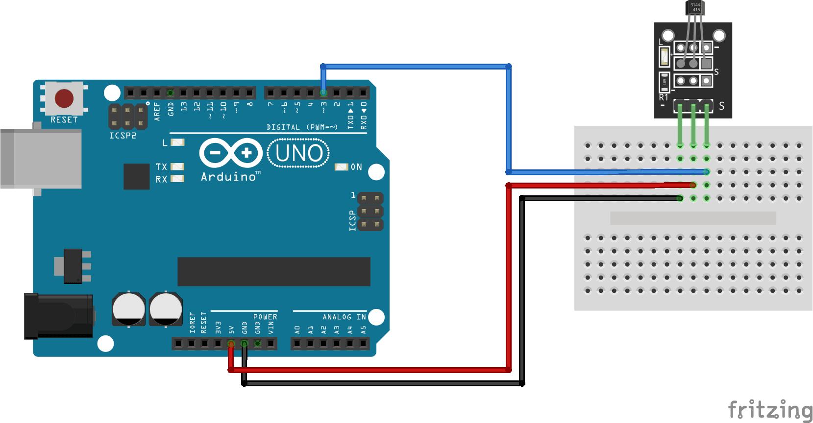 Arduino KY-003 connection diagram
