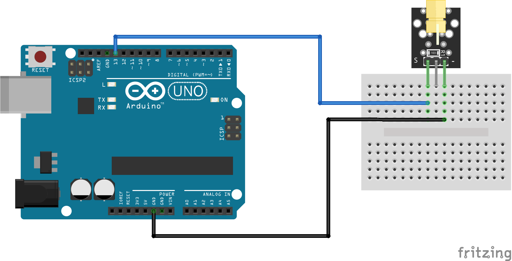 Arduino KY-008 connection diagram