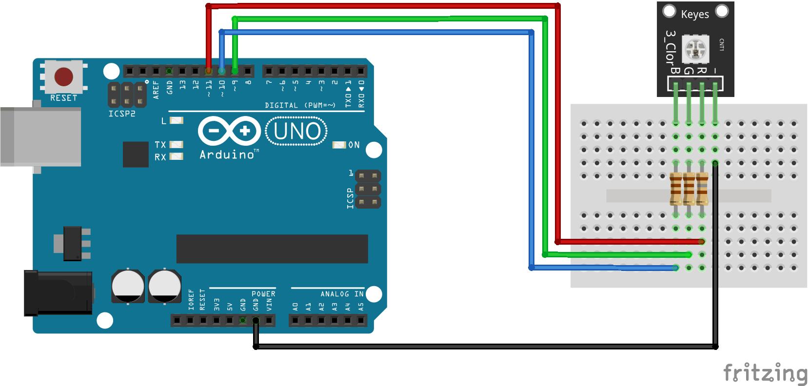 Arduino KY-009 connection diagram