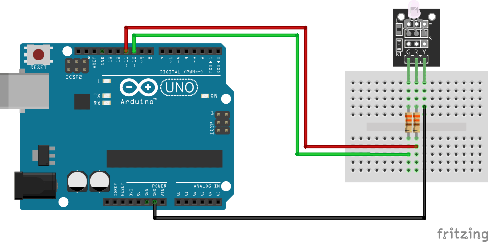 Arduino KY-011 Two color LED module connection diagram