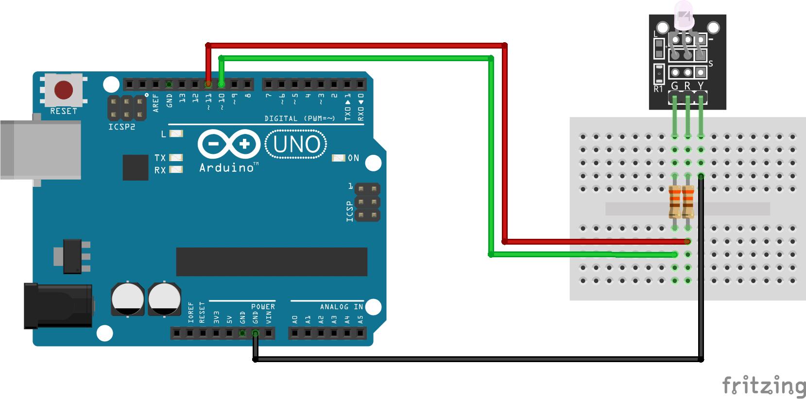 Arduino KY-011 Two color LED module connection diagram