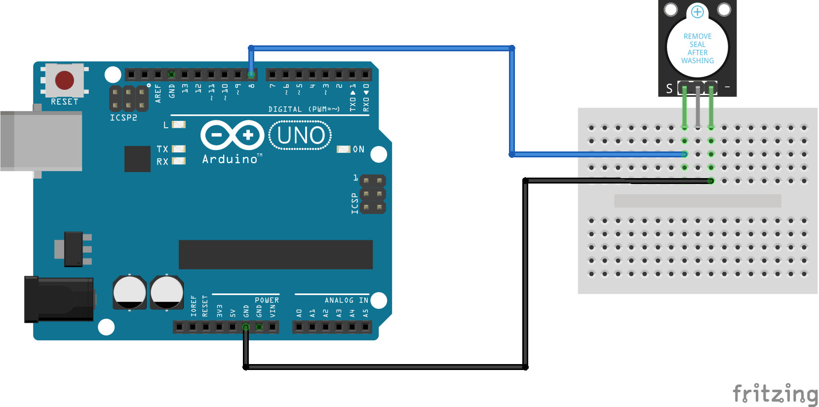 Arduino KY-012 Passive buzzer module connection diagram