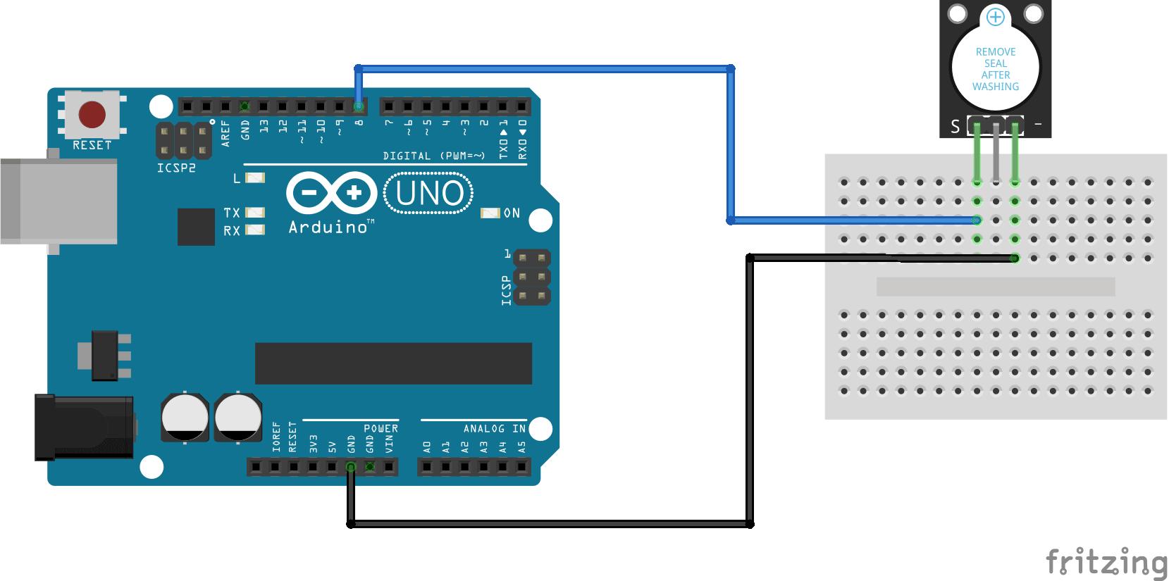 Arduino KY-012 Passive buzzer module connection diagram