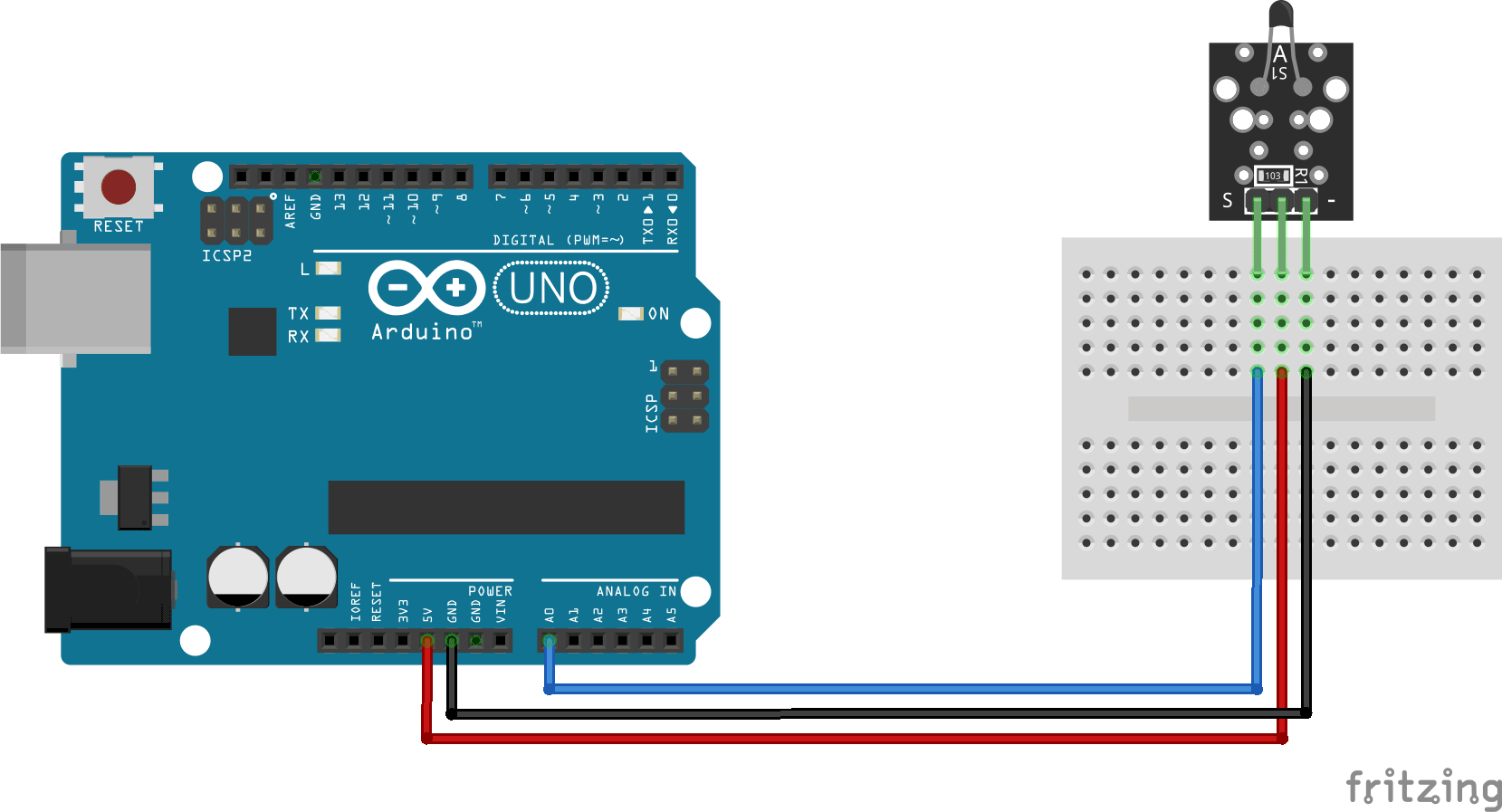 Arduino KY-013 analog temperature sensor module connection diagram