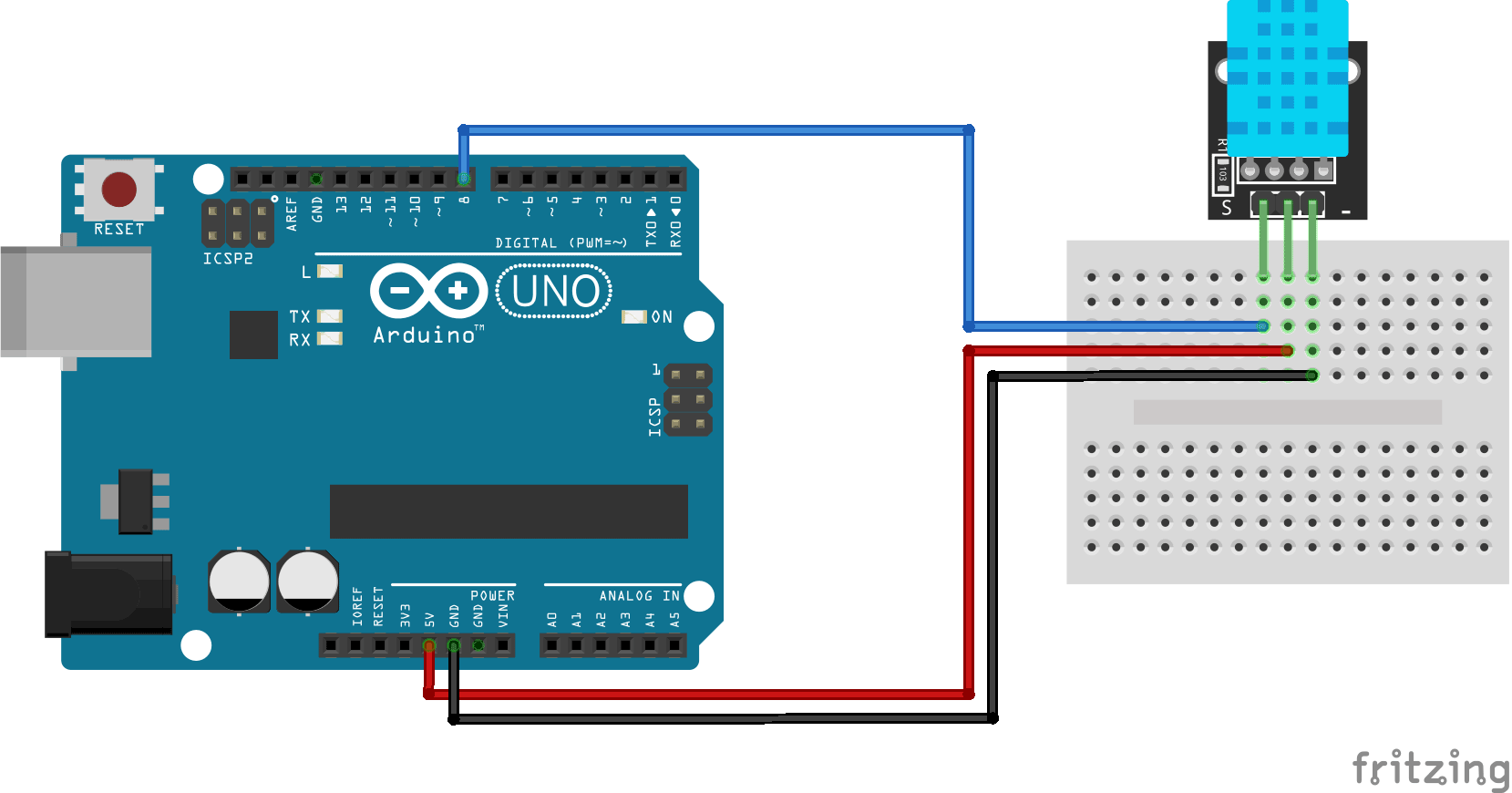 Temperature and humidity sensor KY-022 Arduino connection diagram