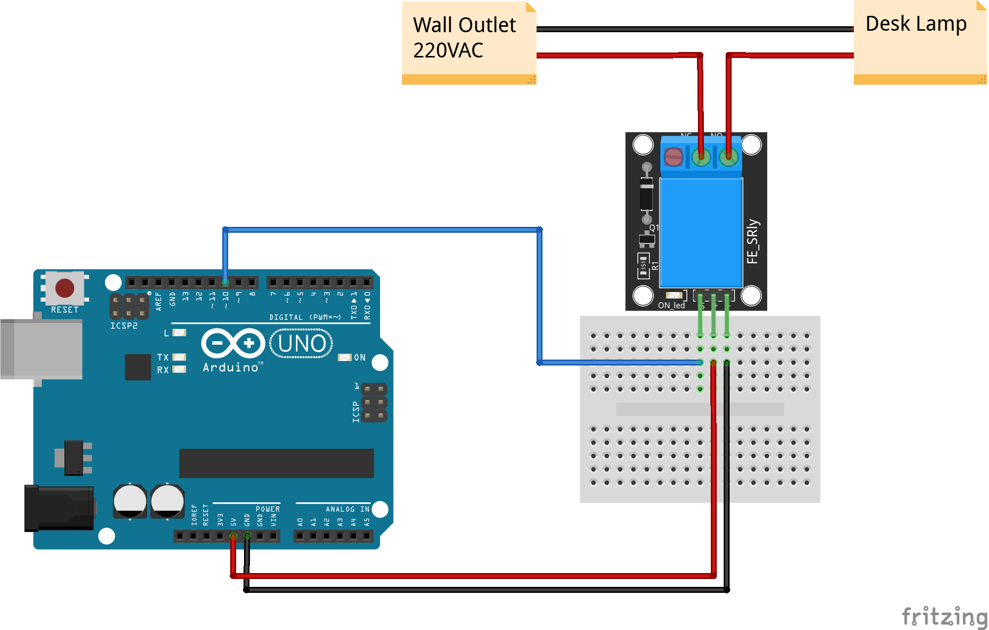 Arduino KY-019 5V relay connection diagram
