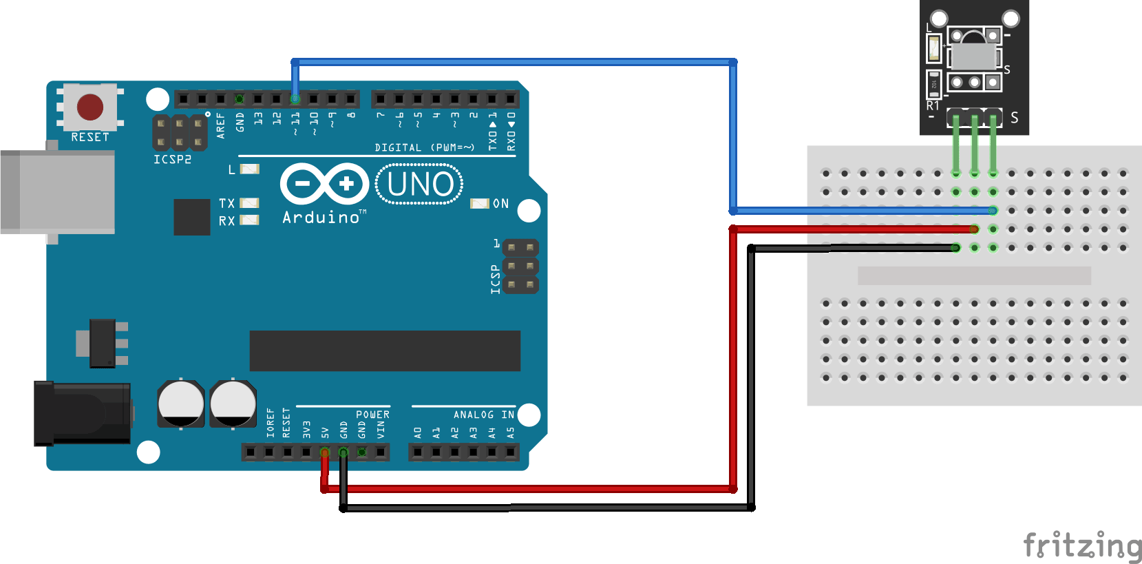 Infrared receiver KY-022 Arduino connection diagram