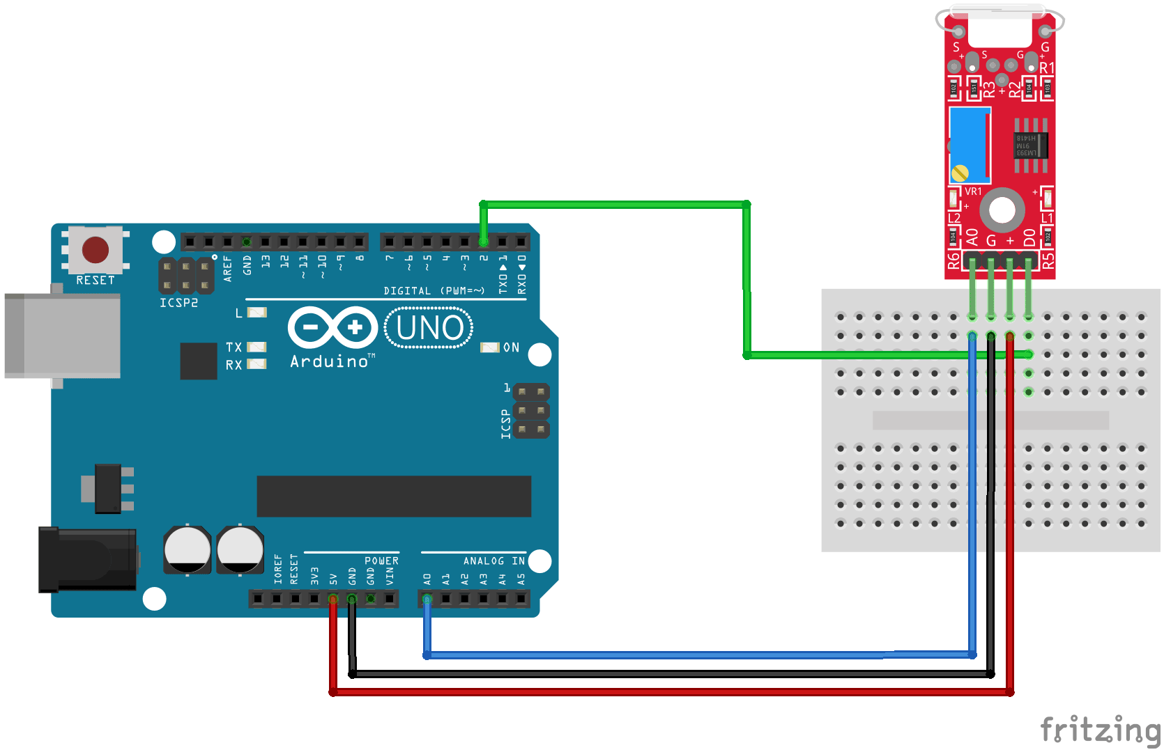 Arduino KY-025 connection diagram