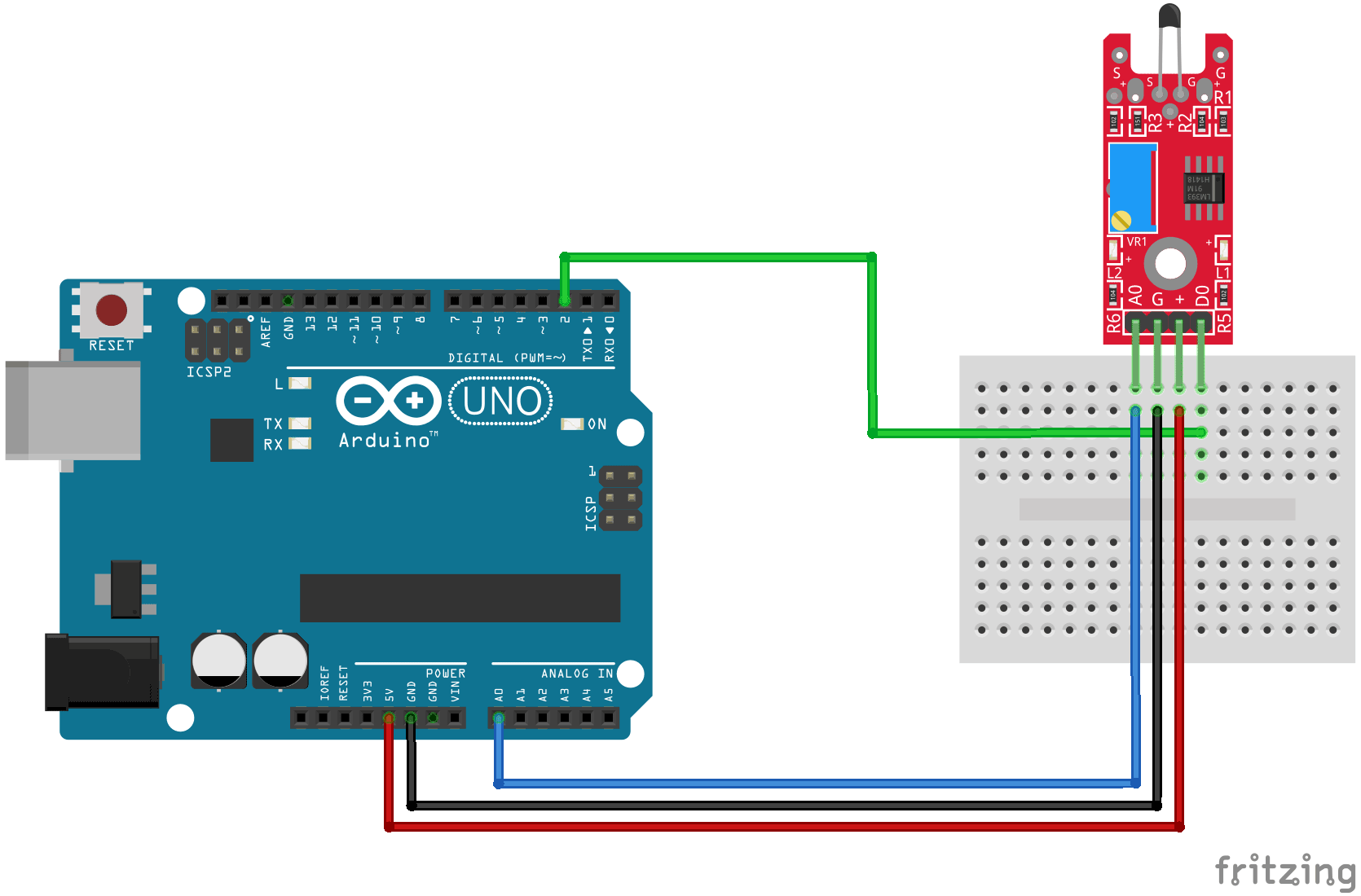 Arduino KY-028 connection diagram