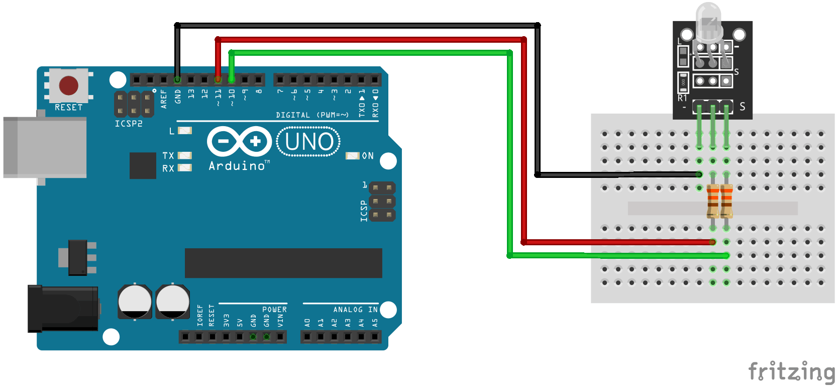 Arduino KY-029 Dual color LED connection diagram