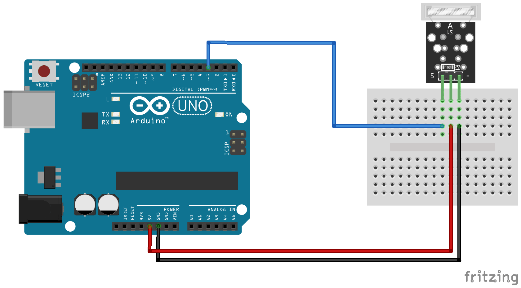 Arduino KY-031 Knock sensor module connection diagram