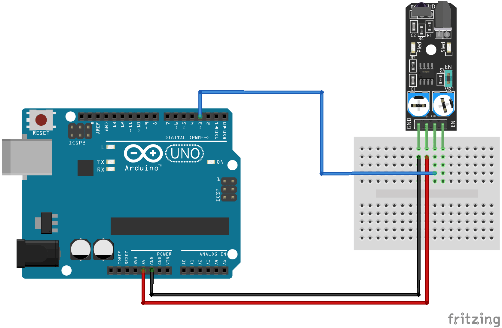 Arduino KY-032 connection diagram